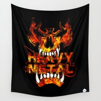 heavy metal Wall Tapestries featuring Heavy Metal by Lindsay Spillsbury