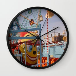 coney island fairground Wall Clock