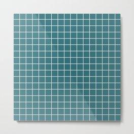 Ming - blue color - White Lines Grid Pattern Metal Print