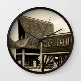 Travel Photography : Tiki Beach in Cayman Islands Wall Clock