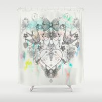 allyson johnson Shower Curtains featuring The Story of my heart by Luca Johnson by Lucinda Saunders Design