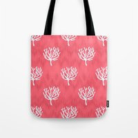 coral Tote Bags featuring Coral by Marta Li