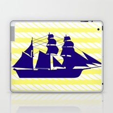 Blue Ship with Yellow Ropes Laptop & iPad Skin