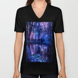 Enchanted Forest Lake Purple Blue Unisex V-Neck