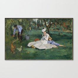Édouard Manet - The Monet Family in Their Garden at Argenteuil (1874) Canvas Print