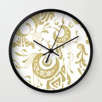 nouveau Wall Clocks featuring Nouveau by CyberneticGhost