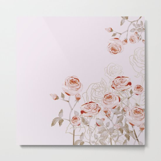 FRENCH PALE ROSES Metal Print
