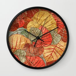 Leaves in Rosy Background 4 Wall Clock