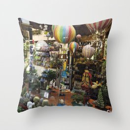 Hot Air Balloons in the Garden Shop Throw Pillow