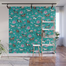 Horse Pattern, Floral Print, Turquoise, Little Girls Room, Horses Wall Mural
