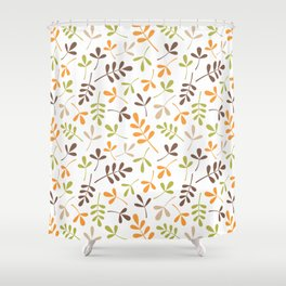 Assorted Leaf Silhouettes Ptn Retro Colors Shower Curtain