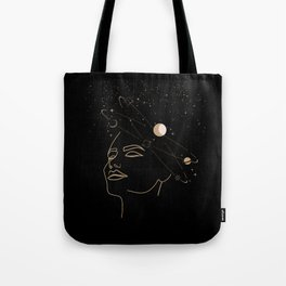 Mystic 94 Mind In Space Golden Line Drawings Minimal Minimalist Outer Space Solar Systems Star Astrology Astronomy Abstract Design Black Bohemian Style Tote Bag