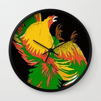 rooster Wall Clocks featuring Rooster by Saundra Myles
