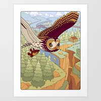 Short-eared Owl with Teddy Bear Art Print