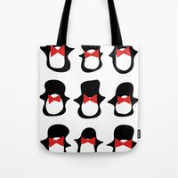 penguins Tote Bags featuring Penguins by Flash Goat Industries