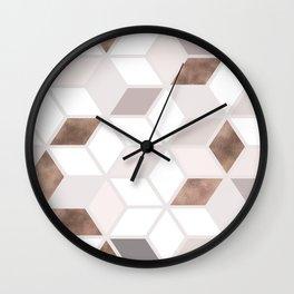 Golden Cubes II Wall Clock