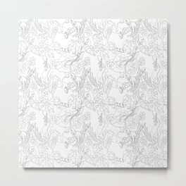 Black and white / lines / tigers and wild cats with tropical leaves  Metal Print