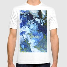 Abstract Nature Acrylic Pour White MEDIUM Mens Fitted Tee