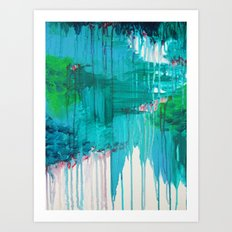 BLUE MONSOON - Stunning Rain Storm Dark Teal Clouds Navy Royal Blue Kelly Green Crimson Red Purple Art Print
