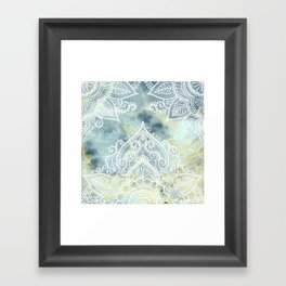 MANDALA ON MARBLE Framed Art Print