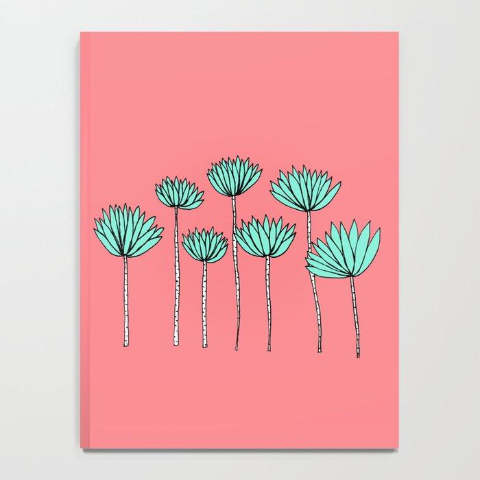 Pink and Aqua Tropical Plants Notebook