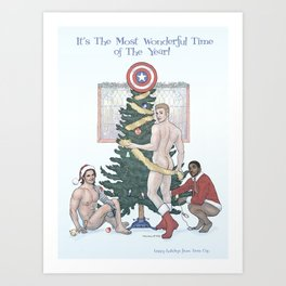 Team Cap Naughty Pinup Holiday Card Art Print