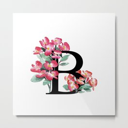 Letter 'B' Begonia Flower Monogram Typography Metal Print