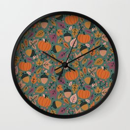 Fall Pumpkin Field Wall Clock