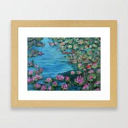 Lily Pond, Impressionism Painting, Pond Flowers Framed Art Print