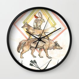 AZTEC Animals with Bow Wall Clock