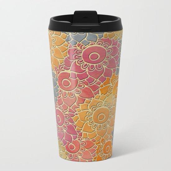 Flower Pattern 2 Metal Travel Mug