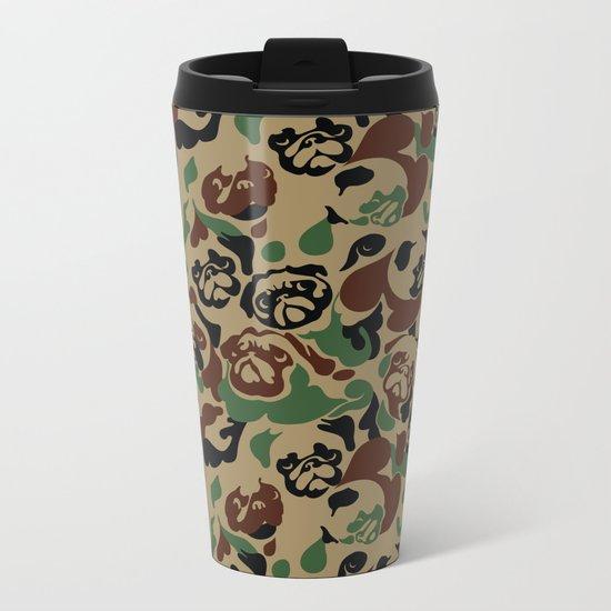 Pug Camouflage Metal Travel Mug