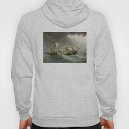 Vintage Destroyed Sailboat During Storm Painting (1859) Hoody