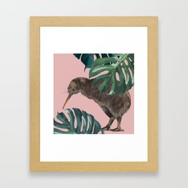 Kiwi Bird with Monstera in Pink Framed Art Print