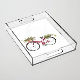 Red Christmas bicycle Acrylic Tray