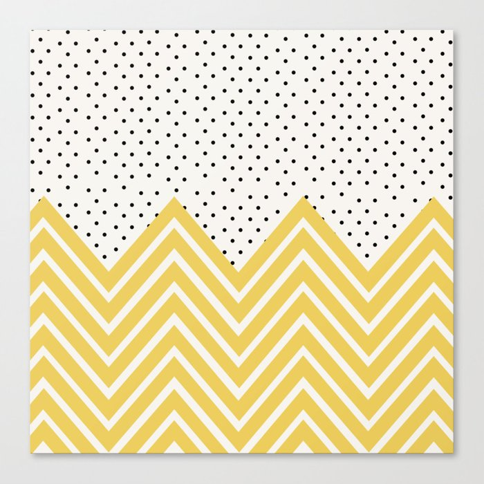 Chartreuse Chevron and dots  Canvas Print