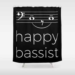 Happy bassist (dark colors) Shower Curtain