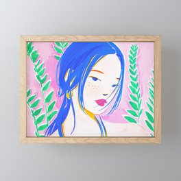 Girl and Aroid Palm Framed Mini Art Print
