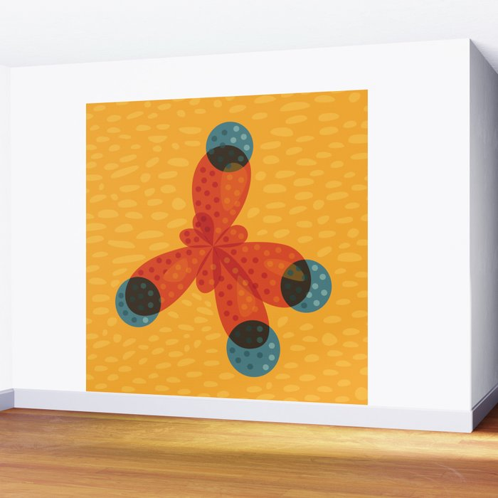 Orange Methane Molecule Wall Mural