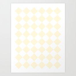 Large Diamonds - White and Cornsilk Yellow Art Print