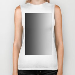 Black to White Vertical Linear Gradient Biker Tank