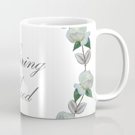 Roses bouquet, white, floral, flowers, leaves, botanical, pattern, decor, art, society6 Coffee Mug