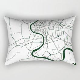 Bangkok Thailand Minimal Street Map - Forest Green and White Rectangular Pillow