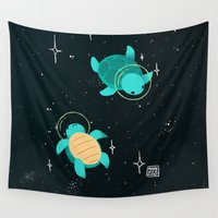 turtles Wall Tapestries featuring Space Turtles by Maike Vierkant