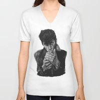 arctic monkeys V-neck T-shirts featuring ARCTIC ALEX by Aoife Rooney Art
