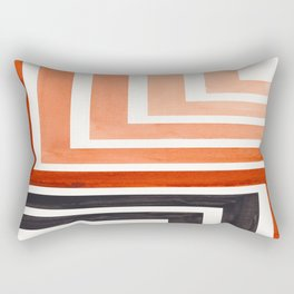 Burnt Sienna Mid Century Modern Watercolor Colorful Ancient Aztec Art Pattern Minimalist Geometric P Rectangular Pillow