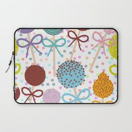 seamless pattern Colorful Sweet Cake pops set with bow on white polka dot background Laptop Sleeve