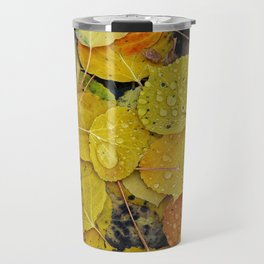 Water droplets on autumn aspen leaves Travel Mug