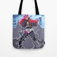 league of legends Tote Bags featuring League of Legends: Vi by Arnix
