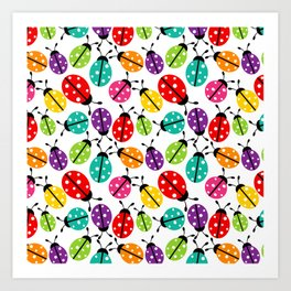 Lots of Crayon Colored Ladybugs Art Print